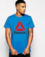 Мужская футболка синяя с принтом рибок,Reebok