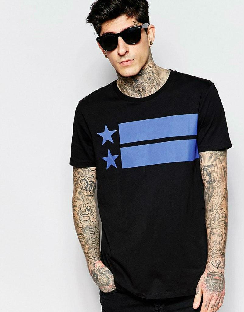 Мужская стильная футболка c принтом черная