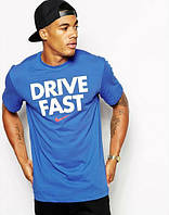 Трикотажная футболка с принтом DRIVE FAST