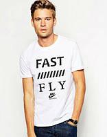 Футболка мужская белая с принтом  Nike FAST FLY