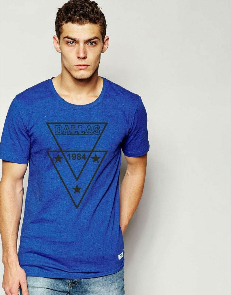 Яркая стильная футболка c принтом DALLAS синяя