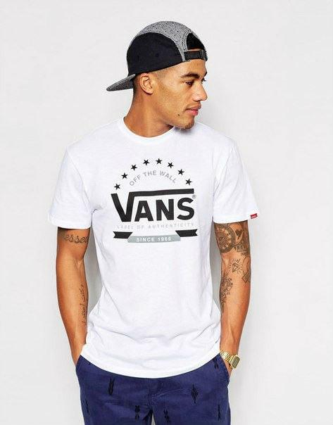 Футболка мужская белая с принтом ванс,vans