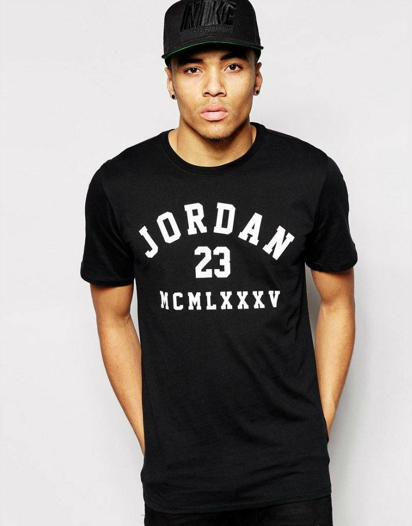 Модная мужская футболка с принтом JORDAN черная