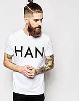 Трикотажная стильная футболка c принтом белая