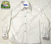Рубашка белая для мальчика с длинным рукавом Штрихи