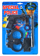 Набор полиции Х 44-6 D (пистолет, присоски 2шт, наручники, часы, свисток) на листе 21,5 х 31 х 3 см HN