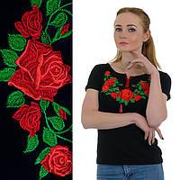 Футболка вышиванка женская Роза черная