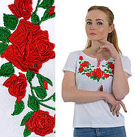 Футболка вышиванка женская Роза белая Батал