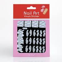 Трафарет зигзаг-наклейки для дизайна ногтей, 12 шт разные (белые), рисунок в ассортименте, фото 1