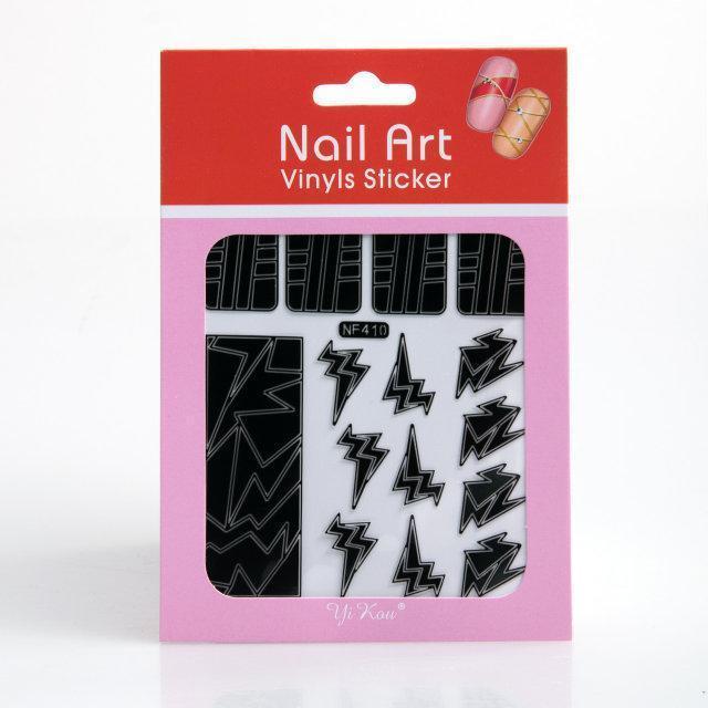 Трафарет зигзаг-наклейки для дизайна ногтей, 12 шт а ассортименте , (черный), рисунок в ассортименте