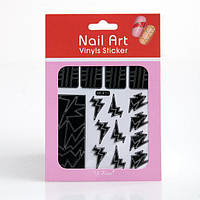 Трафарет зигзаг-наклейки для дизайна ногтей, 12 шт а ассортименте , (черный), рисунок в ассортименте, фото 1
