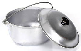 Казан походный туристический 15 литров из алюминия, в комплекте крышка и дужка