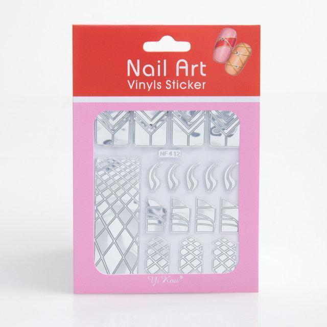 Трафарет зигзаг-наклейки для дизайна ногтей 12 шт (серебро), рисунки в ассортименте
