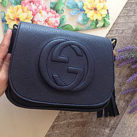 Женская сумка GUCCI Копия Кожаная Темно-синяя Черная