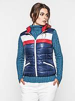Женская спортивная жилетка из водоотталкивающей ткани на синтепоне с карманами и капюшоном 9094/2 46