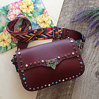 Женская сумка VALENTINO Копия БордоваяКожаная