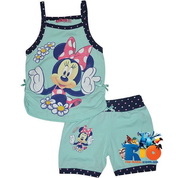 """Летний костюм с ярким принтом """"Minnie In The Summer"""" , трикотаж , для девочек от 3-9 лет (5 ед. в уп.)"""