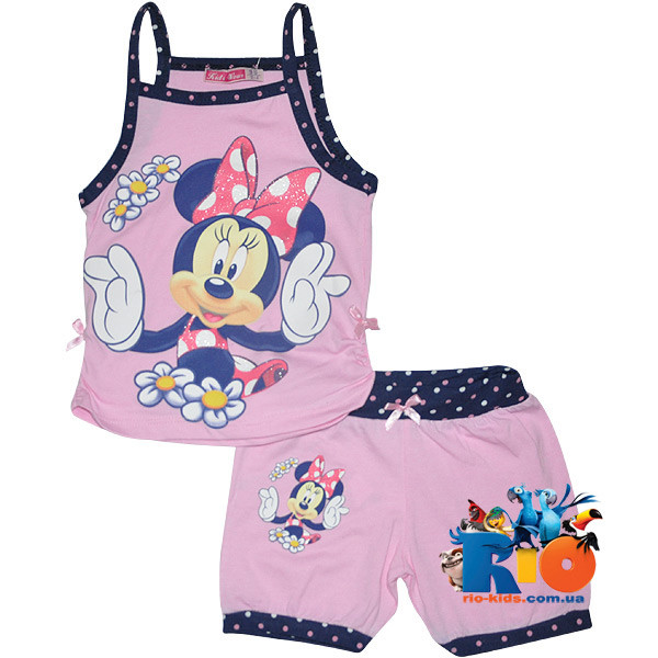 "Летний костюм с ярким принтом ""Minnie In The Summer"" , трикотаж , для девочки от 3-9 лет (5 ед. в уп.)"