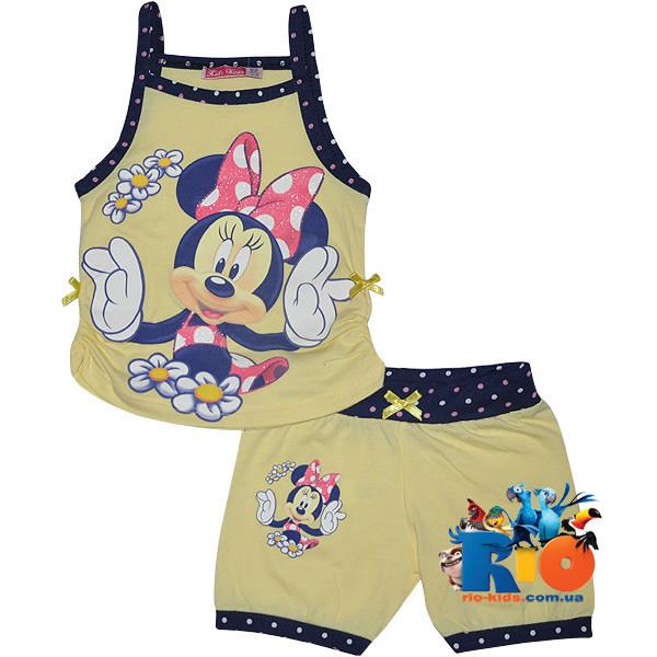 """Детский костюм с ярким принтом """"Minnie In The Summer"""" , трикотаж , для девочки от 3-9 лет (5 ед. в уп.)"""