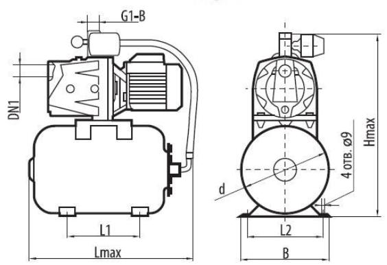 Бытовая насосная станция Sprut AUJSP 355/24L размеры