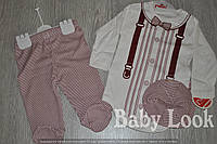 Комплект для малыша: кепка, нарядный бодик, ползунки