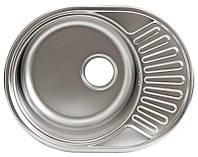 Мойка кухонная 5745 см овальная  Platinum микро-декор 0,8 мм 18 см глубина