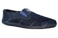 Мокасины на лето мужские синего цвета сетка (БЛ-06спн)