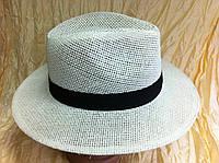 Шляпа белая летняя мужская с лентой