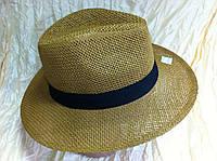 Шляпа коричневая летняя мужская с лентой
