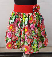 Детская юбка шифон цветочек красная р. 2-5 лет