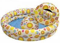 Детский бассейн 59460 круглый, 2 кольца, цветной с набором (122 х 25 см)