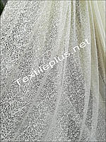 Тюль светло бежевая сетка снежок