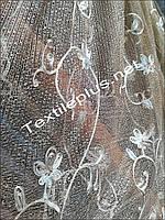 Тюль светло коричневая сетка с декорациями