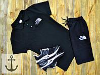 Спортивный летний костюм Шорты + Поло (футболка) +СКИДКА ! North Face черный