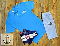 Спортивный летний костюм Шорты + Поло (футболка) +СКИДКА ! North Face голубой+серый