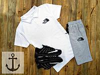 Спортивный летний костюм Шорты + Поло (футболка) +СКИДКА ! North Face белый+серый