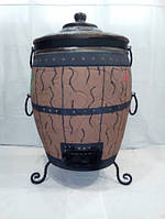 Тандыр из шамотной глины утепленный (дизайн бочка)