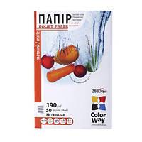 Фотопапір ColorWay матовий 190 г/м², A4, 50 арк.