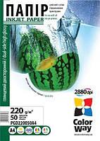 Фотопапір ColorWay глянцевий двосторонній 220 г/м², A4, 50 арк.