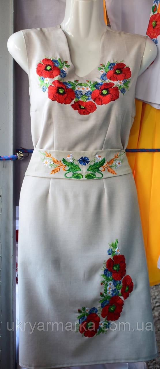 """Плаття з вишивкою """"Оксана"""" світло-сіре"""