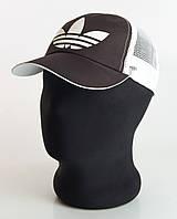 Черно-белая бейсболка  Adidas плащевка с сеткой