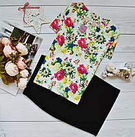 Костюм: блуза короткий рукав с ярким принтом: летный букет + юбка черная миди