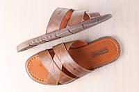 Мужские кожаные тапочки, карамельного цвета
