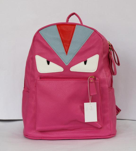Рюкзак шкільний та міський зі штучної шкіри малиновий, чорний.