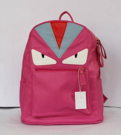 Рюкзак шкільний та міський зі штучної шкіри малиновий, чорний., фото 2