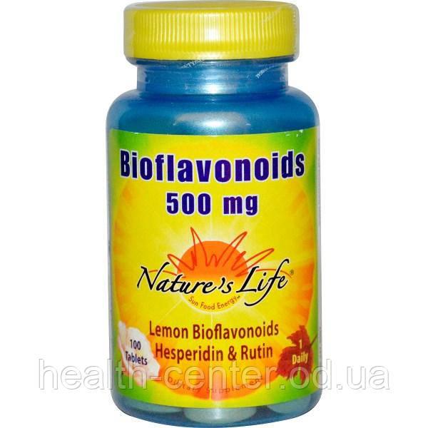 Биофлавоноиды 500 мг 100 таб (рутин гесперидин) укрепление капилляров вен Nature's Life  USA