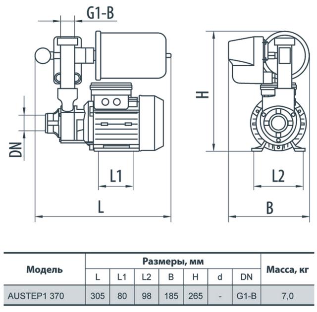 Бытовая насосная станция Rudes AUSTEP 1 370 габаритные размеры