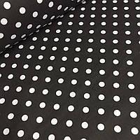 Ткань бязь  белый горох 1см на черном фоне  № 618