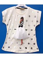 Модная футболка блузка для девочки с объемной апликацией 122-140