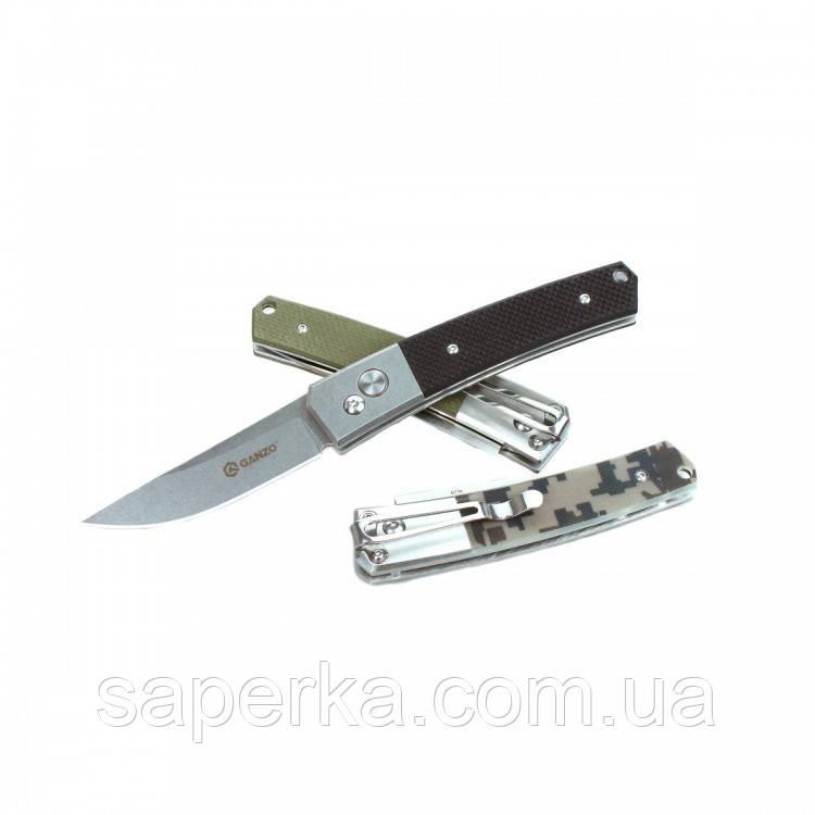 Ніж кишеньковий Ganzo (чорний, зелений, камуфляж) G7362-BK